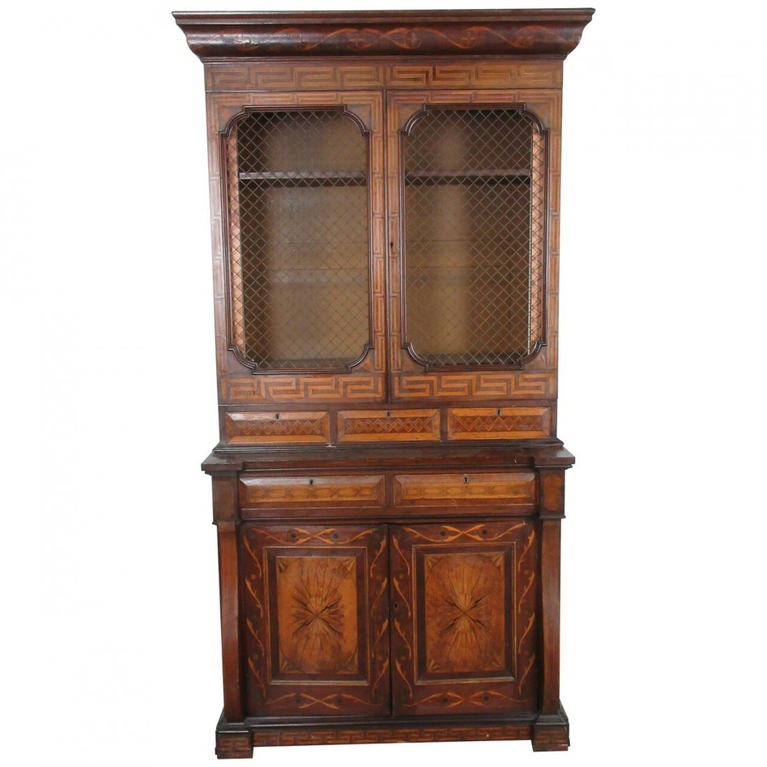 Inlaid Fine Antique Marquetry Bookcase