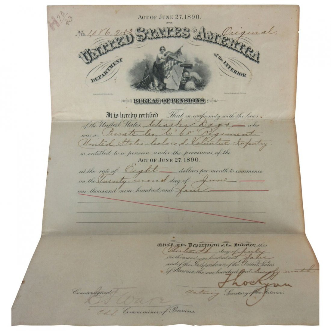 Civil War Certificate Colored Man Release