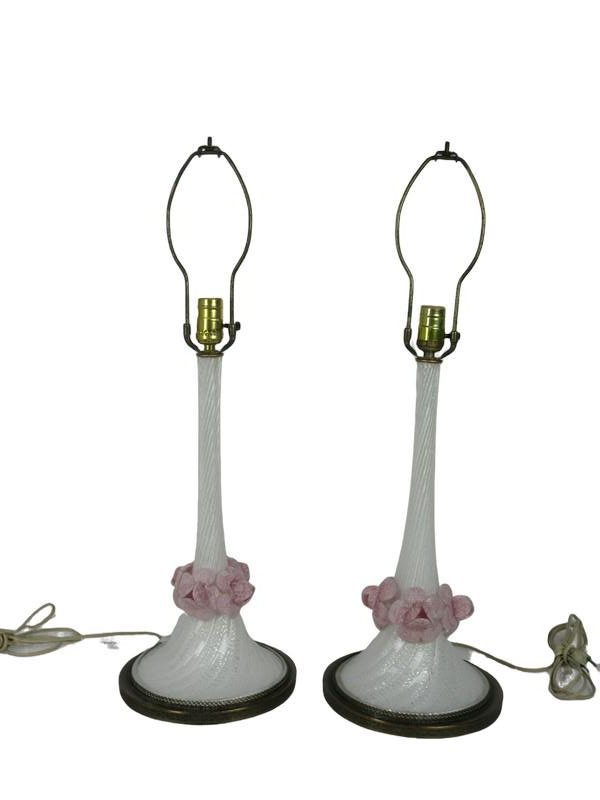 PAIR OF VINTAGE MURANO GLASS LAMPS