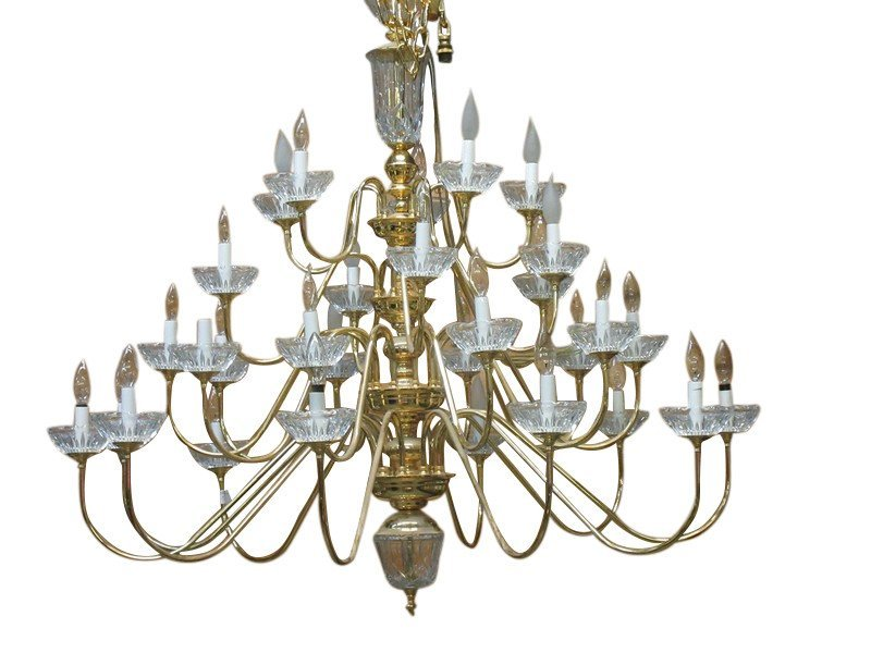 LARGE BRASS AND GLASS FOYER CHANDELIER