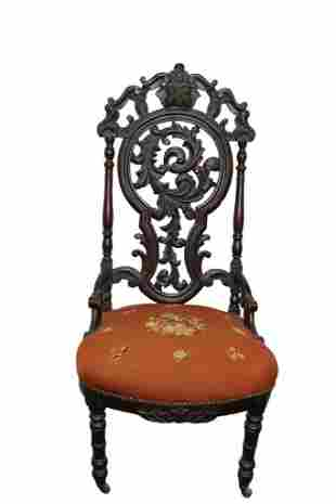 VICTORIAN SIDE CHAIR IN THE MANNER OF BELTER