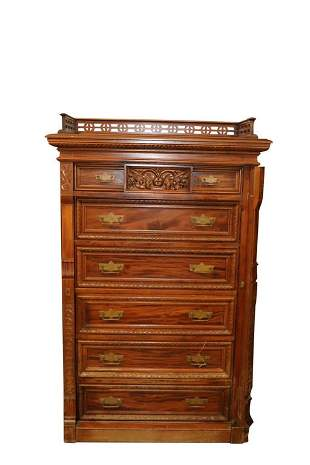 VICTORIAN EASTLAKE LOCKSIDE TALL CHEST