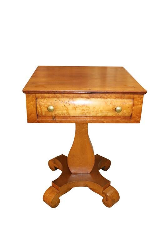 ANTIQUE MAPLE ONE DRAWER STAND