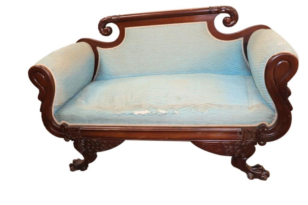 FINE EMPIRE CLAW FOOT ROLLED ARM SETTEE