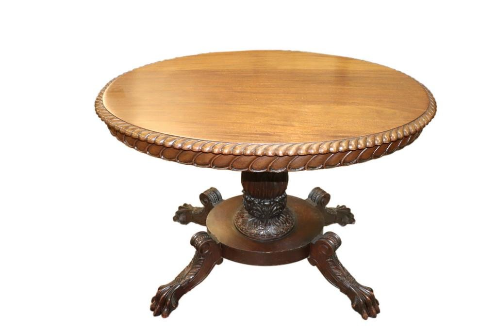OVAL EMPIRE CLAW FOOT CENTER TABLE