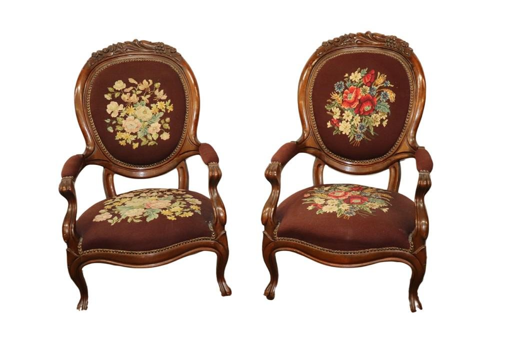 PAIR OF VICTORIAN NEEDLPOINT WALNUT ARMCHAIRS