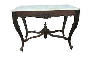 ROSEWOOD MARBLETOP VICTORIAN CENTER TABLE