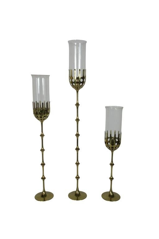 SET OF 3 BRASS CANDLESTICKS BJORN WIINBLAD