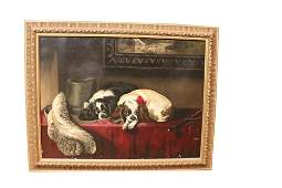 LARGE ANTIQUE PAINTING OF COCKER SPANIELS