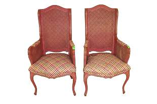 PAIR OF FRENCH PINK PAINTED FIRESIDE CHAIRS