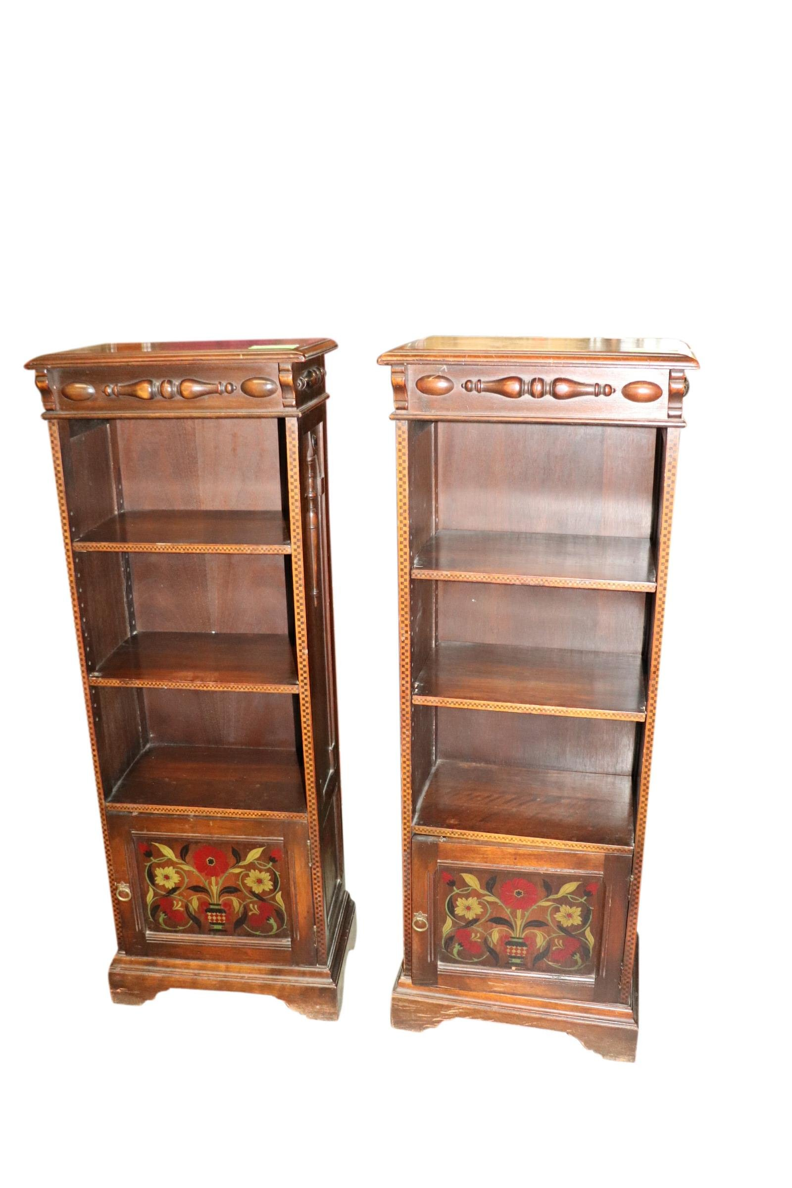 PAIR OF ANTIQUE INLAID PAINTED KITTINGER