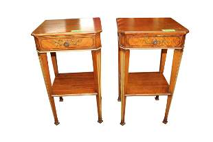 PAIR OF DECORATED 1 DRAWER NIGHT STANDS