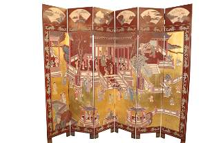 VINTAGE CHINESE RED AND GILT FOLDING SCREEN