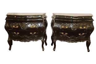 PAIR OF BLACK FRENCH BOMBAY CHEST