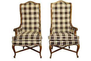 PAIR OF COUNTRY FRENCH UPHOLSTERD ARM CHAIRS