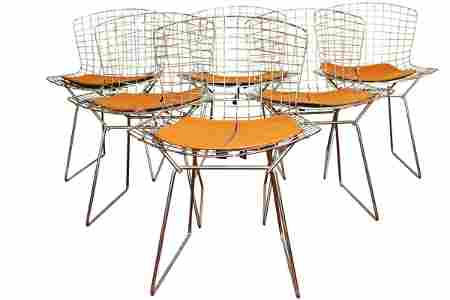6 BERTOIA STYLE CHROME CHAIRS BY KNOLL