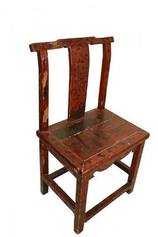Antique Chinese Red Painted Side Chair