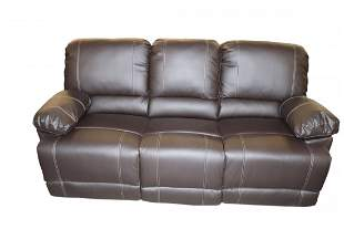 New 3 Seat Brown Leather Recliner