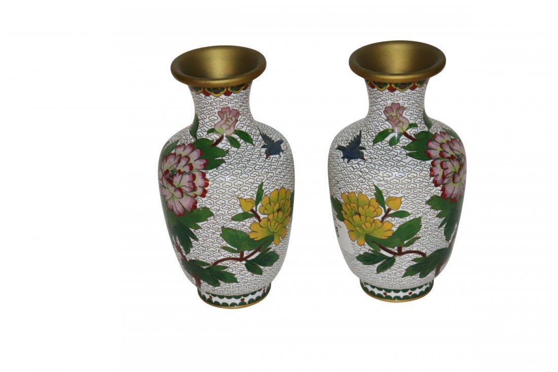 Pair of Vintage white Ground Chinese Cloisonne Vase