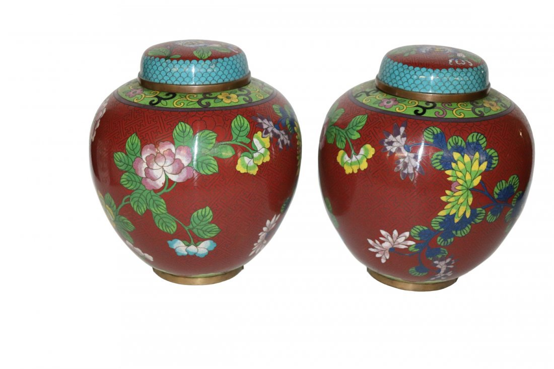 Pair of Large Antique Chinese Cloisonne Ginger Jars