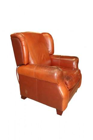 Large Brown Bomber Leather Recliner