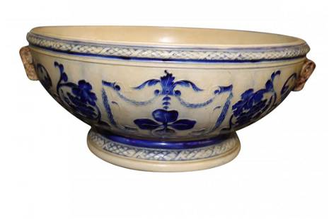 Antique Salt Glaze Stoneware Bowl Rams Head Handles
