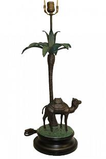 Tall Cold Bronze Painted Camel & Palm Tree Lamp