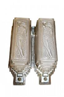 Pair of Art Deco Chrome & Frosted Glass Wall Sconces