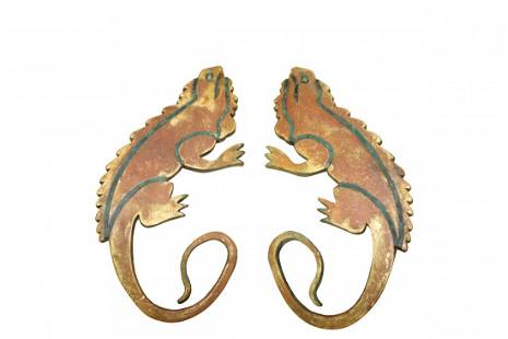 Pair of Bronze Door Handles Attributed to Pepe Mendoza
