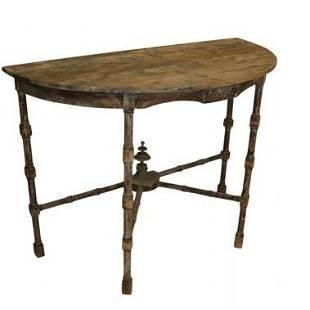 Vintage Demi-Lune Rustic Table