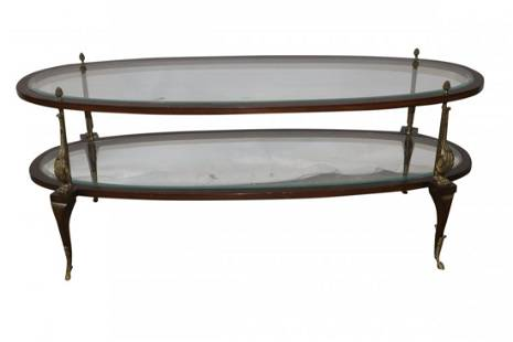 Early 20th Century Bronze, Glass & Wood Two Tier Coffee