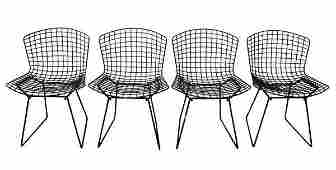 4 Black Harry Bertoia Style Dining Chairs