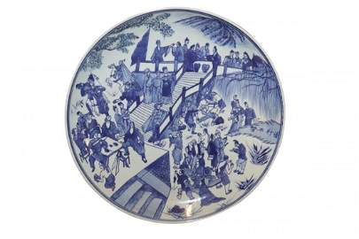 Large Fine Vintage Chinese Blue And White Charger