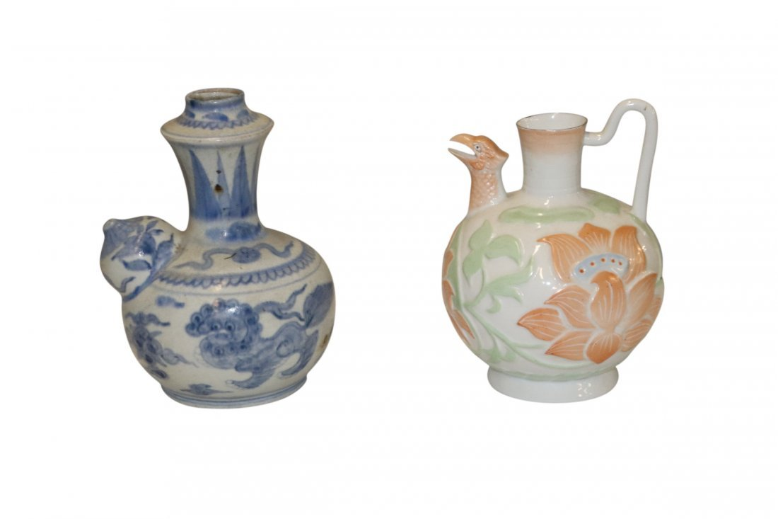 2 Asian Chinese Porcelain Jugs