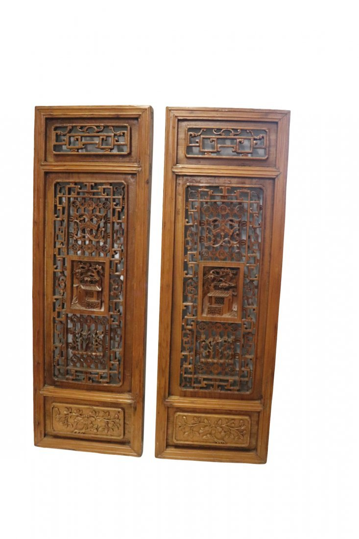 2 Highly Carved Chinese Wood Temple Panels