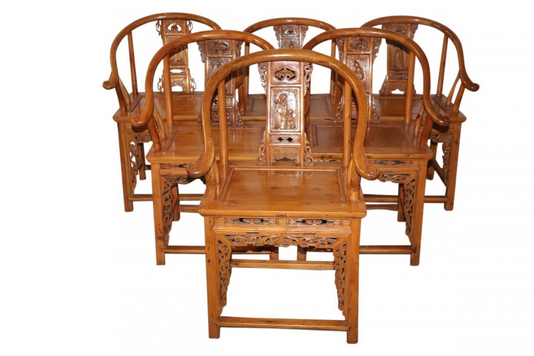 6 Horseshoe Back Carved Chinese Chairs
