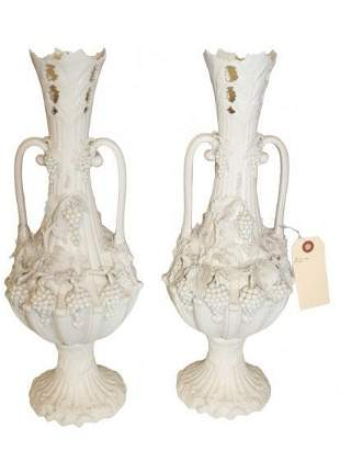 Pair of Parian Bisque Vases