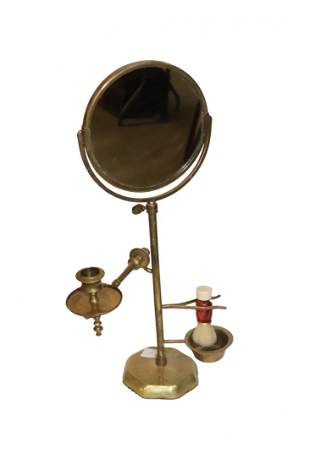Vintage Brass Shaving Mirror and Stand