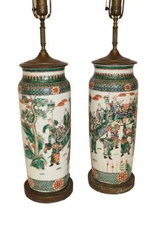 Asian Porcelain Famille Rose Pair of  Lamps