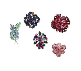 Great collection of 5 Vintage Brooches
