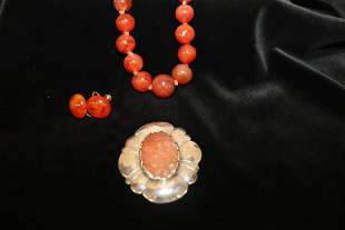 Agate  Necklace, Sterling Pendant & Earring Set