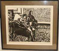 Melnicoff Signed Painting Two Young Women