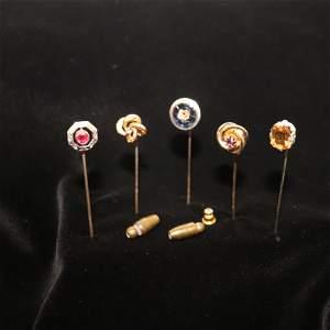 Antique, Art Nouveau, Diamond and Gem stone stick pins