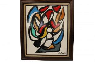 Signed R. Monti Mid Century Modern Abstract Art