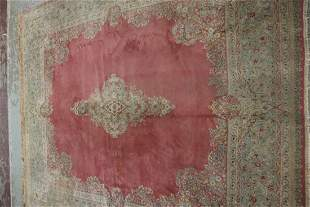 Antique Pink Persian Kerman Palace Size Carpet