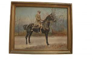 Signed N. duBois Equestrian Portrait Oil on Canvas