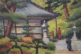 Signed Rosenbaum Asian Landscape Tea House and Garden.