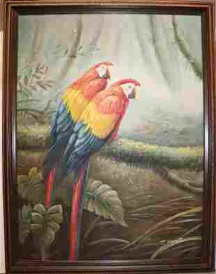 Signed W Clagot Oil On Canvas Large Colorful Parrots