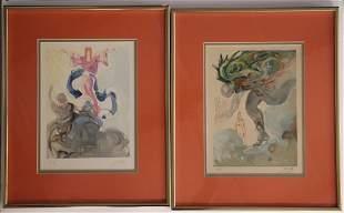Salvador Dali Signed Artist Proof. Figure from heavens