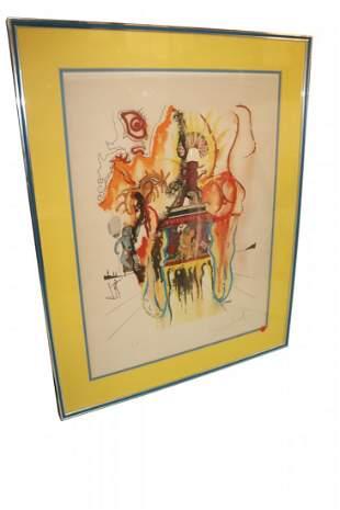 Salvador Dali Signed Artist Proof. Figure Running